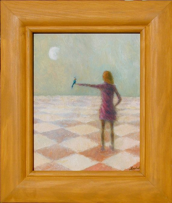 Be happy. Blue Bird. by Andrelli on Etsy #Andrelli #blue #bird #girl #woman #moon #checked #floor #pastell #green #pink