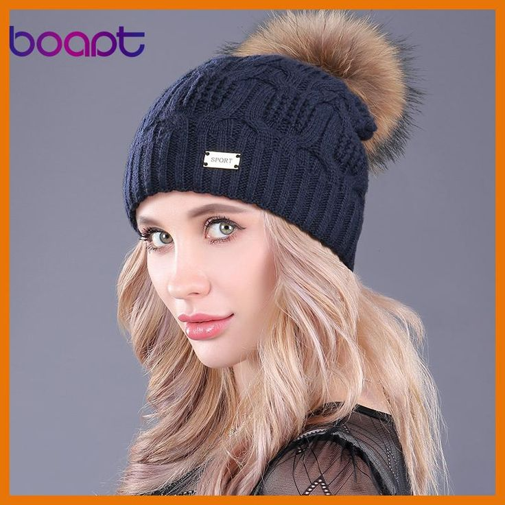 b15be85970b  boapt  Double-deck Knitted Wool Real Natural Raccoon Fur Pompon Hat Female  Winter
