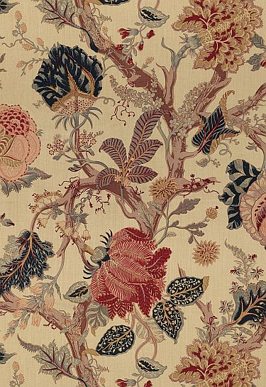 Indian Abre linen fabric by Schumacher - Tree of life pattern with a tea stained look