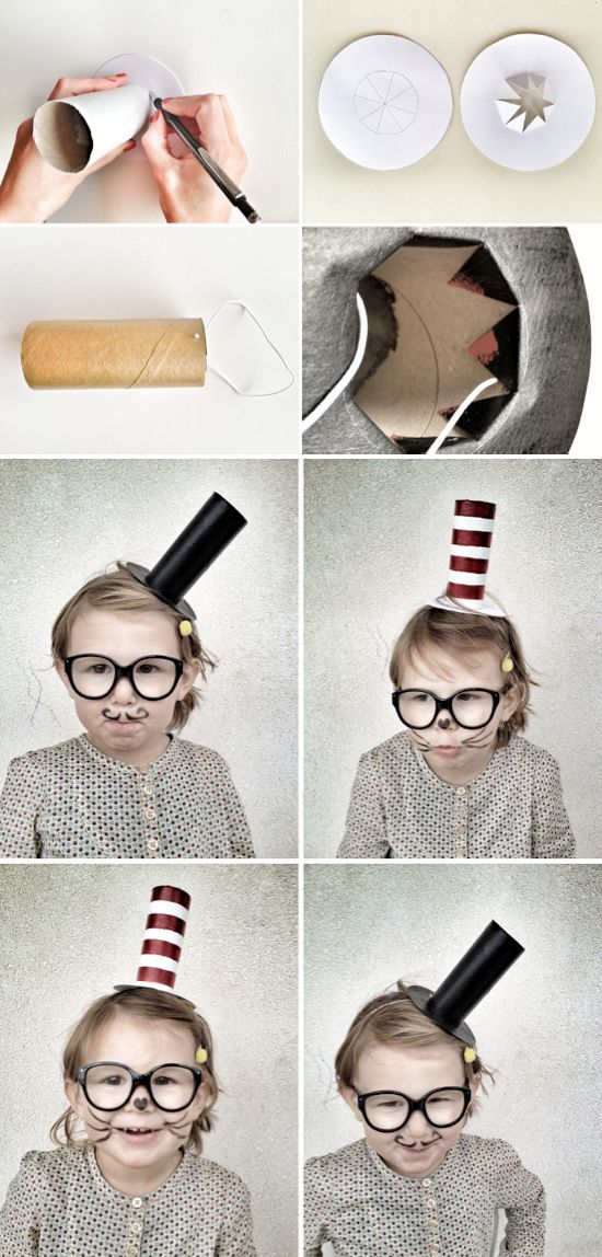 21 Toilet Paper Roll Craft Ideas- tiny Dr. Seuss hat & mustache with top hat