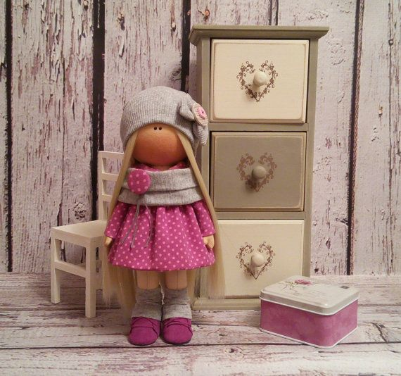 Lovely Tilda doll Art doll handmade blonde pink colors Rag doll Soft doll Cloth…