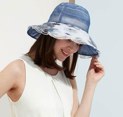 Ink wide brim sun hat for girls silk bucket hats