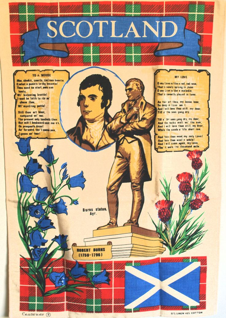 Scotland Tea Towel - Vintage Scottish Thistle Robert Burns Linen Cotton Tea Towel - By Causeway - New Old Stock by FunkyKoala on Etsy
