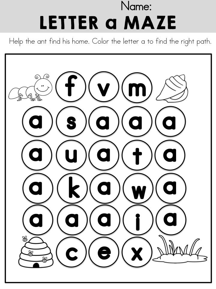Lowercase Letter a Maze >> Part of the Alphabet Adventures Program >> Download Letter A Packet for FREE!