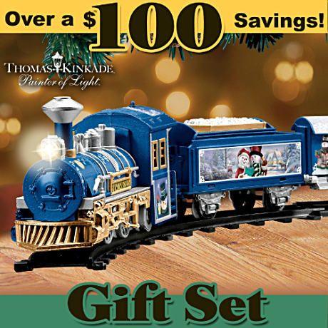 Thomas kinkade holiday art battery-powered train set