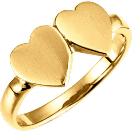 Engraved 10K Gold Double Heart Signet Ring  - tap to personalize and get yours