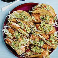 Fish Tacos with Corny Guac - made this, with pre-marinated mediterranean tilapia from Loblaws. Delish.