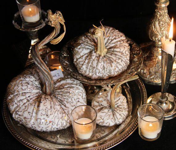 White Pumpkin Fall Wedding Centerpiece Velvet Pumpkins  Set of