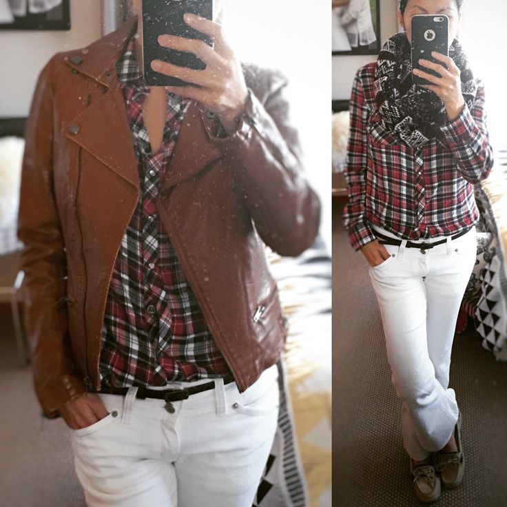 Casual winter gear - checkered shirt and white pants paired with brown faux leather jacket #fashion #winterfashion #everydayfashionfix #ootd