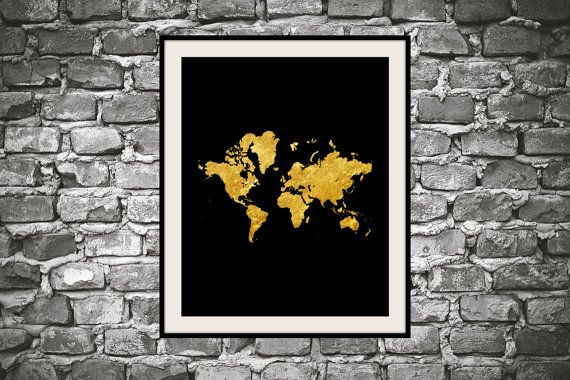Printable inspirational wall art Gold map instant by mntpaperwork