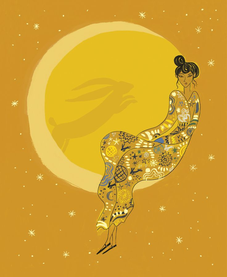 That Which We Do Not Understand limited edition faux gold leaf art print: Moon Rabbit by Emma Farrarons, featuring the Chinese legend of Chang'e. Made as a limited edition of 10, grab yours now before the sell out!