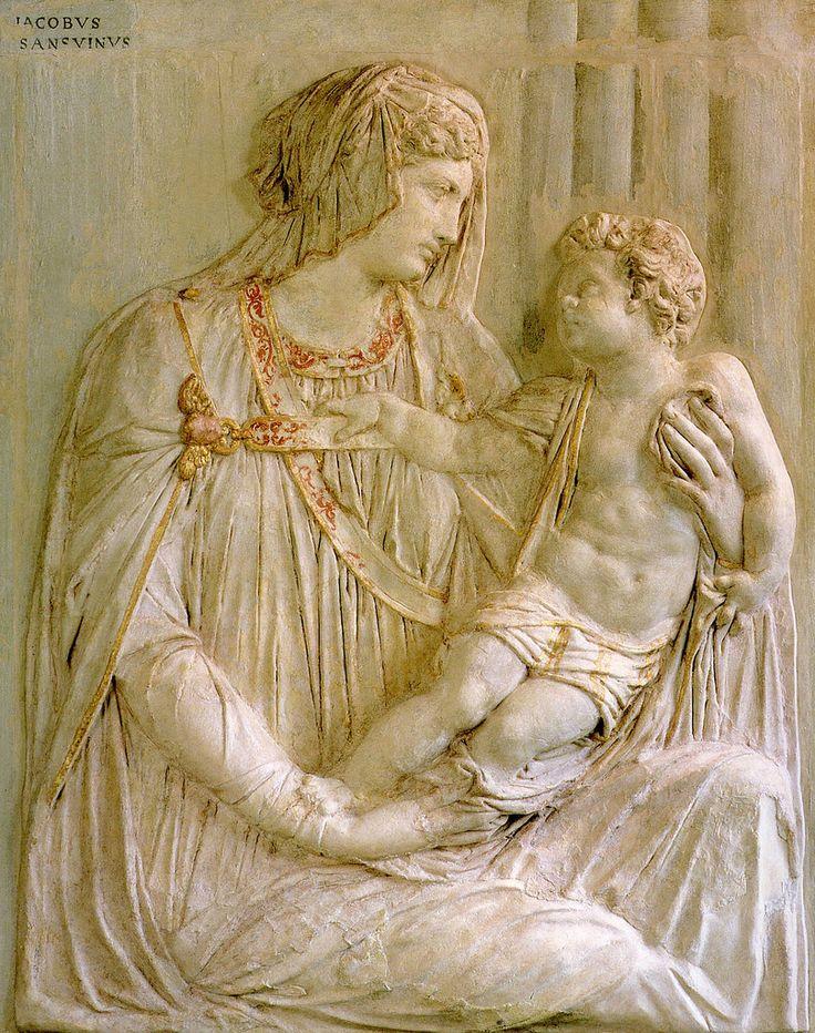Jacopo Sansovino - Madonna con il Bambino [1540-50]    rilievo in cartapesta colorata Vittorio Veneto, Museo del Cenedese