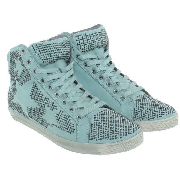 Pre-owned Kennel & Schmenger - sneakers in mint (£170) ❤ liked on Polyvore featuring shoes, sneakers, black, black lace up sneakers, lace up sneakers, leather shoes, studded sneakers and black lace up shoes