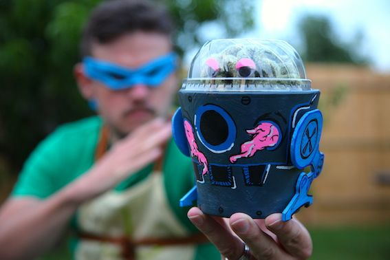 TMNT Krang Cactus Pot Plant - teach kids (big and small) about gardening with this easy-to-make but hard-to-kill cactus in a retro classic Teenage Mutant Ninja Turtle villain pot.