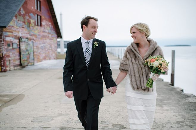 Baby, It's Cold Outside: A Winter Wedding in Door County   Bridal and Wedding Planning Resource for Wisconsin Weddings   Wisconsin Bride Magazine HER DRESS IS TO DIE FOR!!!