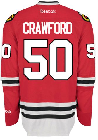 Chicago Blackhawks Mens Corey Crawford Premier Home Jersey with AUTHENTIC TACKLE-TWILL LETTERING