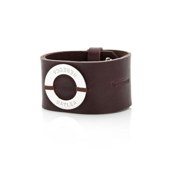 Max personalised sterling silver and leather cuff