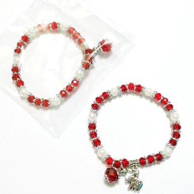 Margele-bijuterii.com - Bratara margele sticla, perle plastic alb, pandantiv elefant