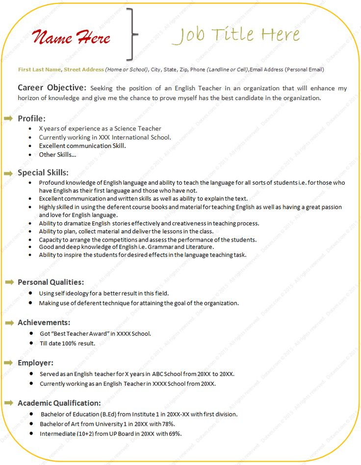 sample resume format for experienced teacher free