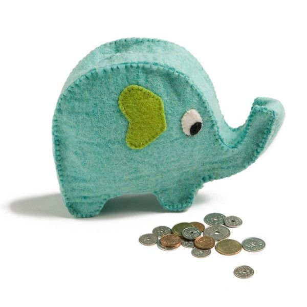 This gorgeous little felt elephant (piggy :) bank is a fabulous way to encourage children to save their pennies. It's another wonderful, fairtrade creation from Scandinavian designers En Gry & Sif.
