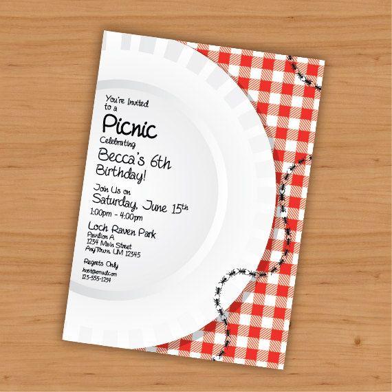 Picnic Birthday Customizable Invitation  Digital by KtRazzDesigns, $20.00