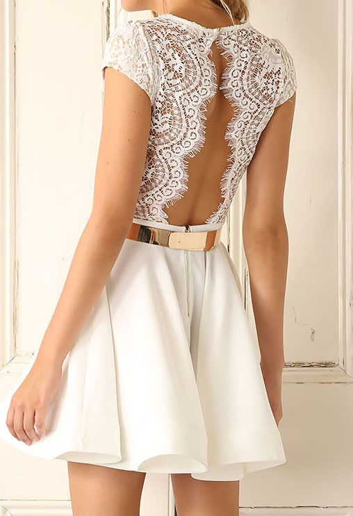 V Neck Lace Insert Open Back Pleated Dress