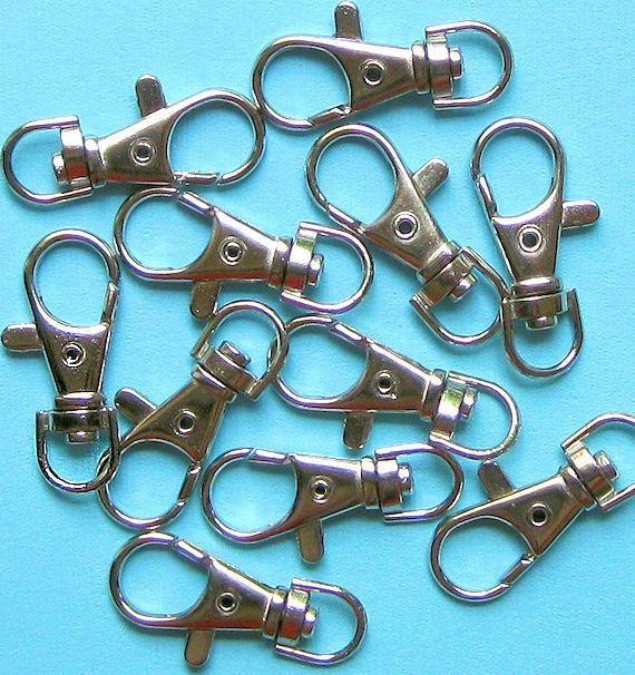 5 Hummer Swivel Schmuckverschlüsse Silber Ton - tolle Qualität-Ideal für Schlüsselanhänger und Hund Leinen Z20