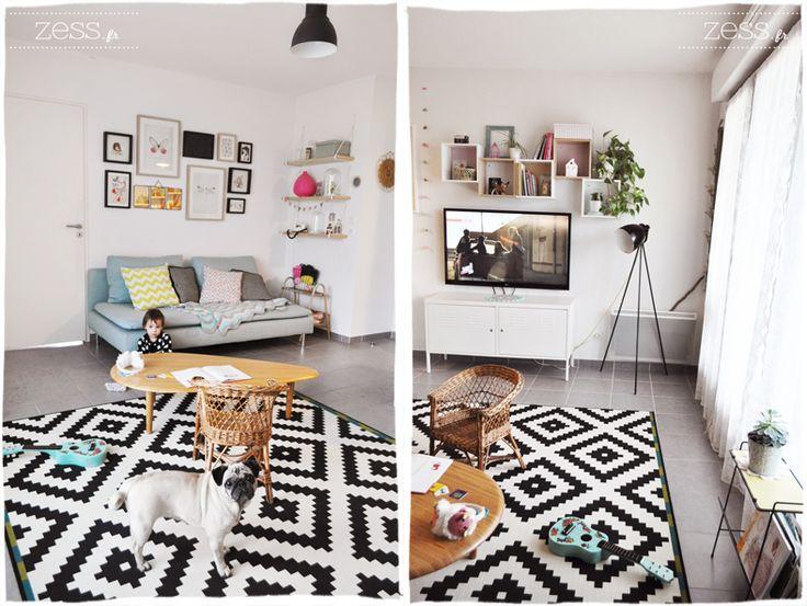 Déco salon vintage années 50 scandinave, tapis à chevrons table pieds compas, disposition cadres...  from http://www.zess.fr/deco-notre-salon/
