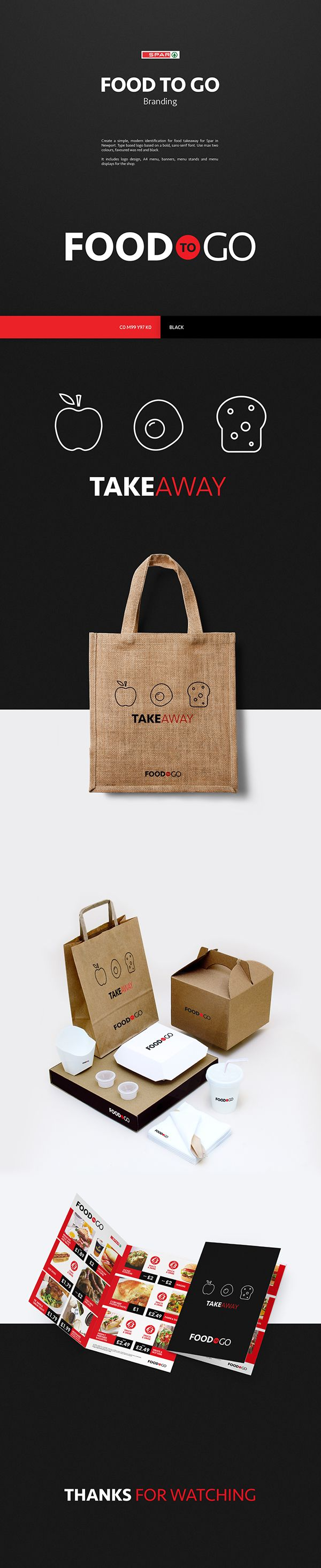 Food to Go Branding for Spar, Newport.   Brief was to create a simple, modern identification for food takeaway for Spar in Newport. Type based logo based on a bold, sans-serif font. Use max two colours, favoured was red and black.   It includes logo design, A4 menu, banners, menu stands and menu displays for the shop.   food take away logo flyer leaflet banner menu bag coffee modern simple clean