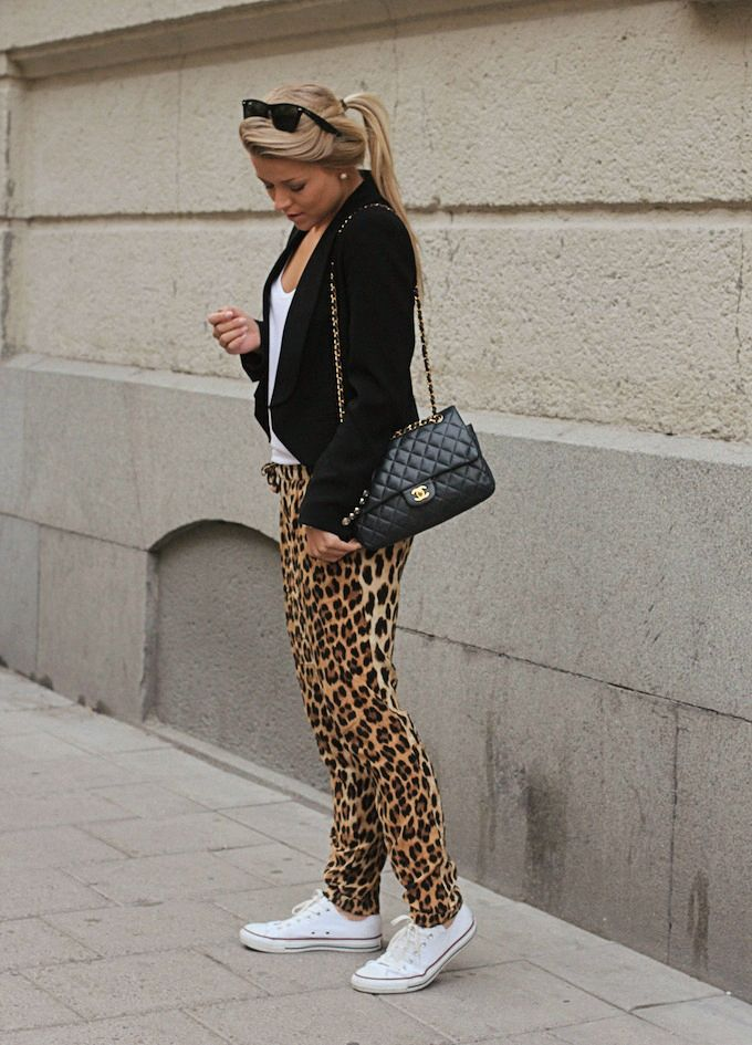 leo pants, converse & chanel / Linda Juhola, P.S. I love fashion