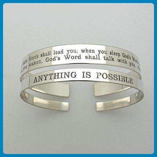 Two Custom Personalized Bracelets - Inspirational Quote Jewelry - Sterling Silver Cuffs Set - Gift for Her - Engraved Bracelets - Gifts for her - Personalized Gift - Wedding bracelets (*Amazon Partner-Link)
