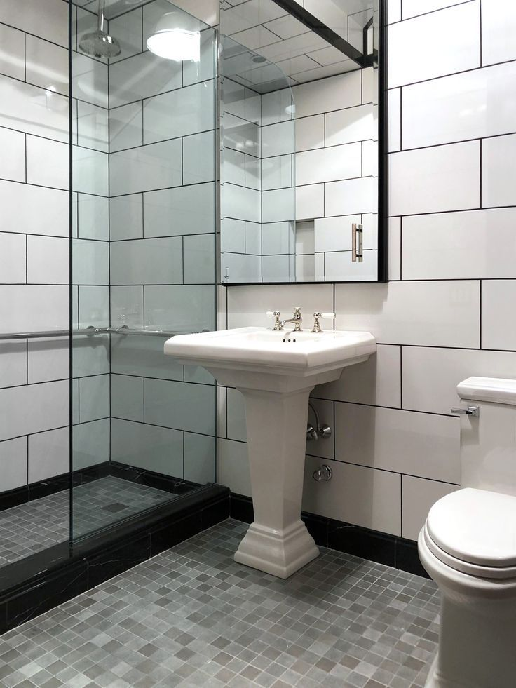 Modernized Art Deco Style And Exquisite Design Sense In This Bathroom By Peter Houghtaling Our New 1 Large Tile Bathroom White Bathroom Tiles Bathroom Design