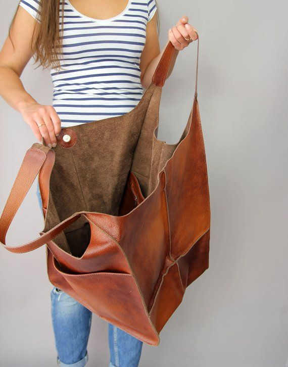 Cognac Oversized bag Large leather tote bag 1661e09552663