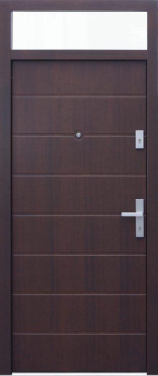 Drzwi z naświetlem górnym wzór 490,1 w kolorze palisander.
