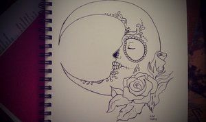 Sugar Skull-Painted Moon (not finished) by princesskhym - would want sugar skull sun, like this style