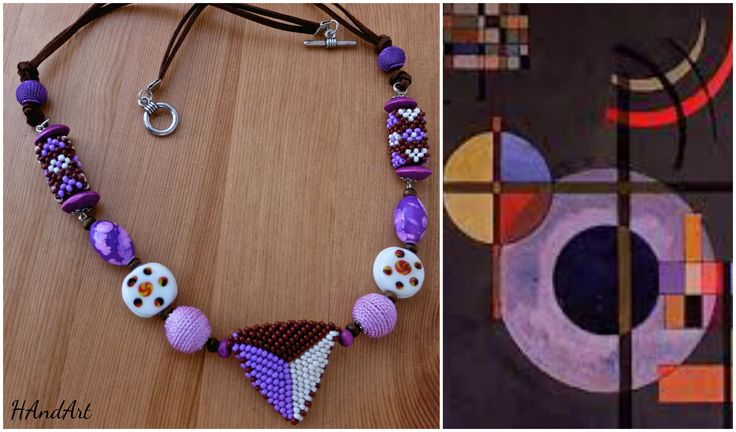 Size / Weight/Material a total of approx. 63 cm  weight 45 g.  Used materials Fastener from metal, glass beads, leather tape, hand-crocheted; wood and ceramic beads  Production kind Hand-made