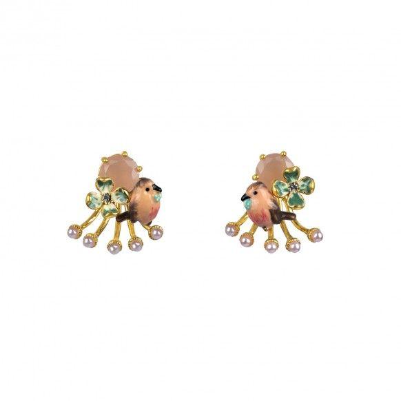 Boucles d'oreille rouge-gorge et perles de rivière crème