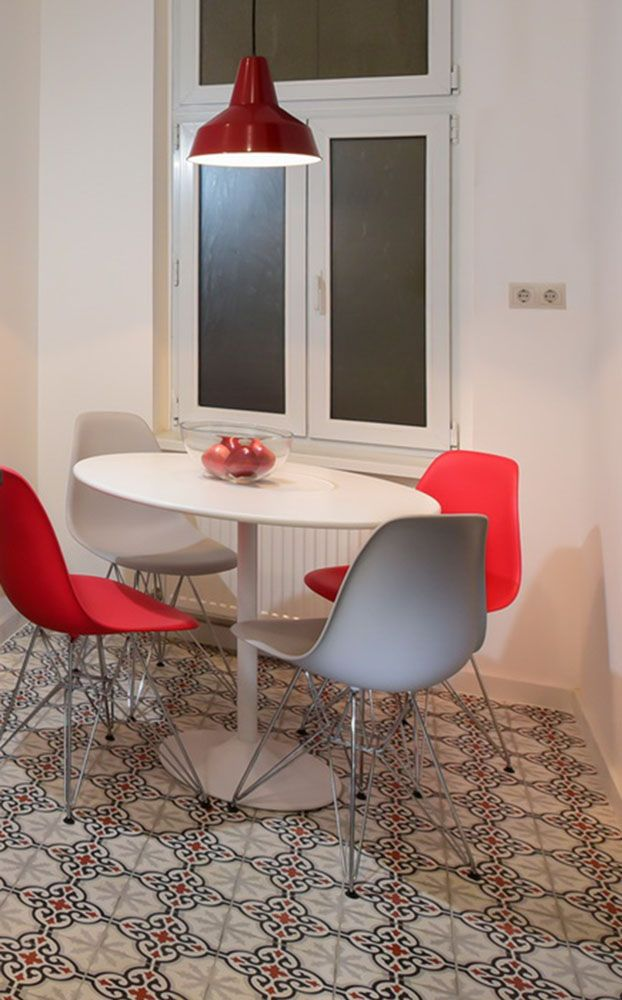 aisha cement tiles in red+white+grey (designer Erika Nyary)