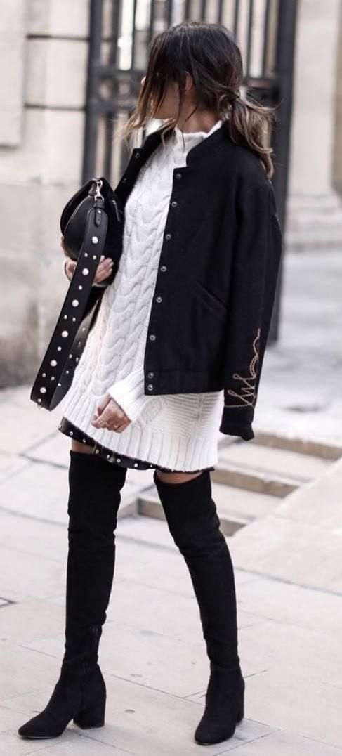 incredible outfit / black jacket + knit sweater dress + bag + over knee boots