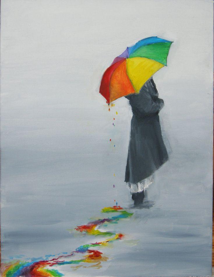 Rainbow umbrella in the rain