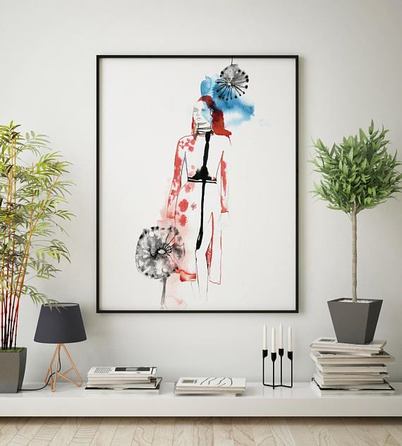 £12.99 #FASHION #Illustration print wall art #watercolour blue red black