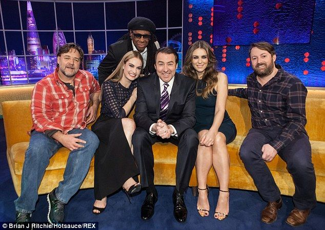 Full house! Jonathan was joined by Russell Crowe, Lily James, Nile Rogers, Liz Hurley and David Mitchell