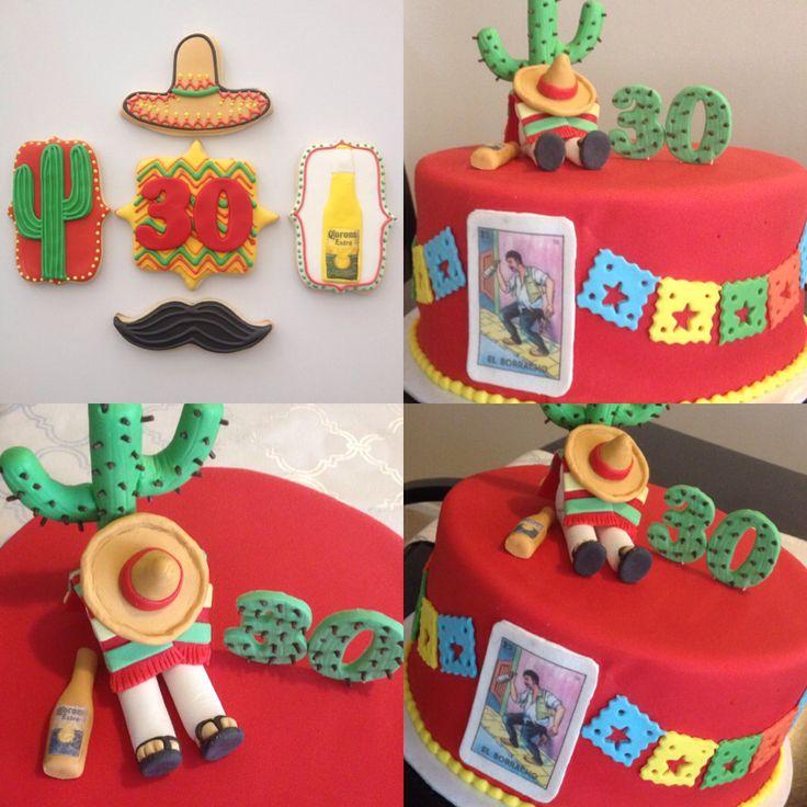 Mexican cake, 30th birthday cake, loteria, cactus, nopal, sombrero, el borracho