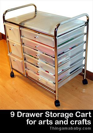 Photo of a storage cart. The caption reads: Nine drawer storage cart for arts and crafts.