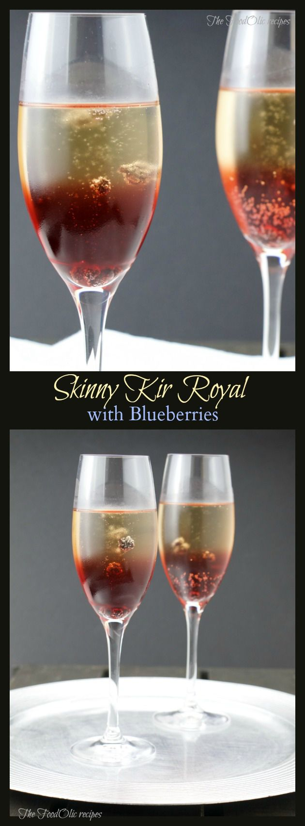 SkinnyKir Royal with blueberries is an elegantand tasty way to break the ice before dinner. It's an aperitif from France, although usually it's made out of creme de cassis which is a …