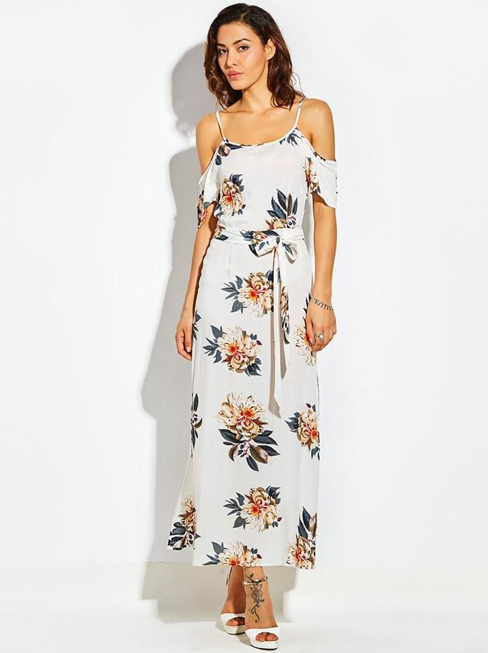 robe fleurie blanche longue