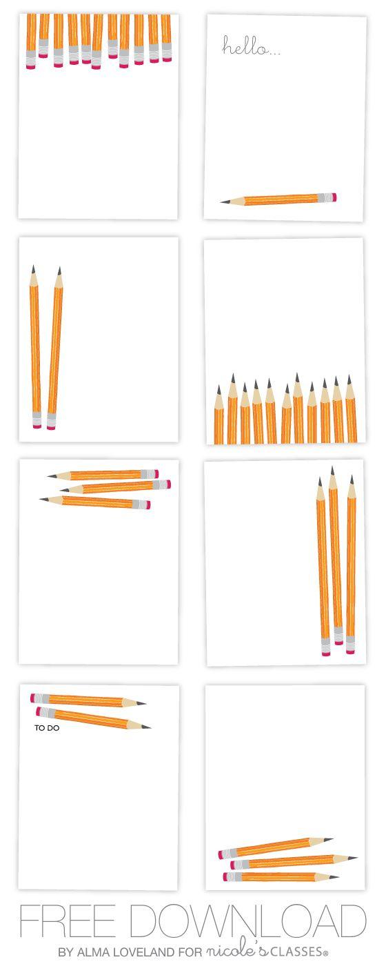 Free printable pencil flat notes