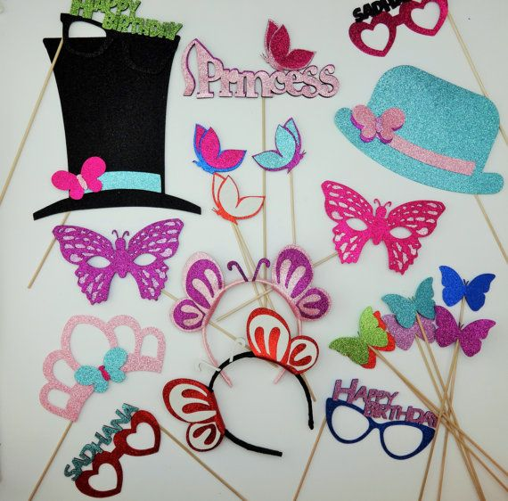 Princess Photo Booth Props Butterfly Tea Party  Butterfly mask  butterfly wands butterfly head bands