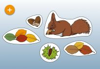 Decorations for the Squirrel Lapbook for children. More lapbook resources available at www.kigaportal.com!