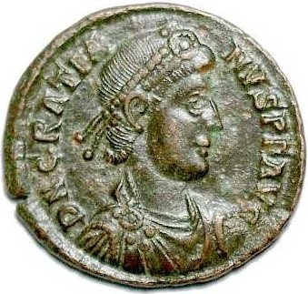Gratian, the eldest son of Valentian I, was Roman Emperor from 375 to 383. Upon the death of Valentinian in 375, Gratian's half-brother Valentinian II was declared emperor by Valentinian I's soldiers, and the two ruled together. After his uncle Valens, emperor of the East, was killed in the Battle of Adrianople, Gratian essentially became ruler of the entire empire. When this task proved too daunting, he appointed Theodosius I to govern the Eastern empire. He was assassinated in 383.